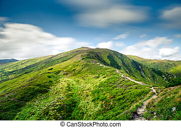 山の景色, 夏