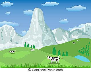 山の景色, 牧草地