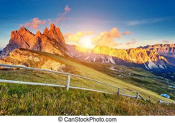山の景色, 魔法