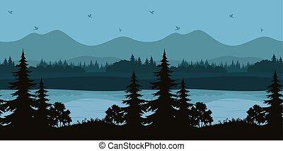 山の景色, seamless, 木, 湖
