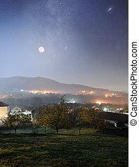 山の村, 夜
