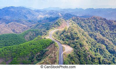 山の道, の上, 光景