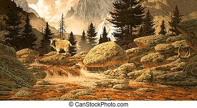 山の ヤギ