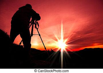 山の 上, シルエット, カメラマン