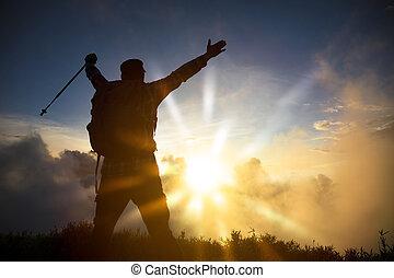 山の 上, 人, 日の出, 監視