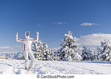 山の 上, 成功, スキーヤー