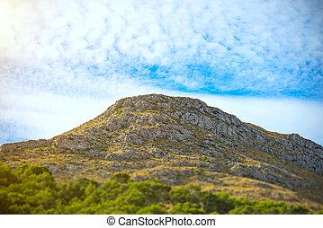 山の 上, island., 光景