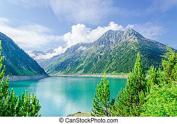 山は 最高になる, 湖, 高く, オーストリア, 空色, 高山