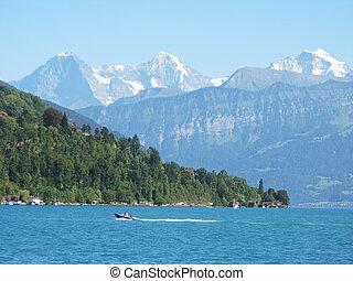 山は 最高になる, 湖, jungfrau, 有名, thun., moench, スイス, eiger