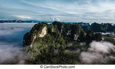 山光景, タイ, 航空写真, 風景, krabi