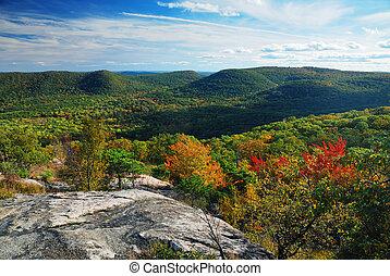山光景, パノラマ, ピークに達しなさい, 秋