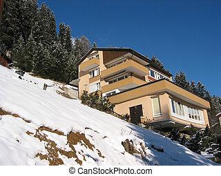 山坡, 村舍, 在中, davos, 瑞士