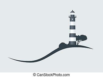 山坡, 黑色, 有条纹, 灯塔, 矢量, 描述