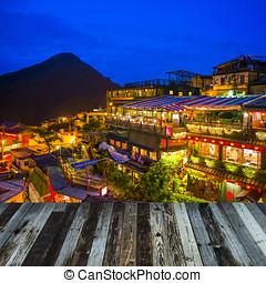 山坡, teahouses, 在中, juifen, 台湾