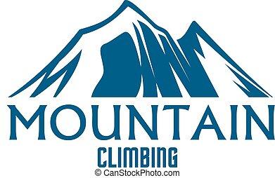山攀登, 运动, 矢量, 隔离, 图标