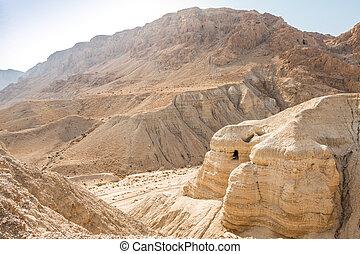 山洞, 在, qumran, 那裡, the, 死海紙卷, 是, 發現