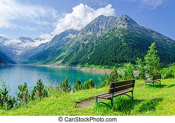 山湖, ベンチ, オーストリア, zillertal, 空