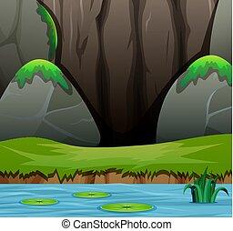 山湖, 岩が多い