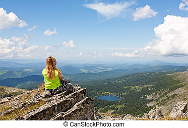 山湖, 顔つき, 岩, 女の子, 座る