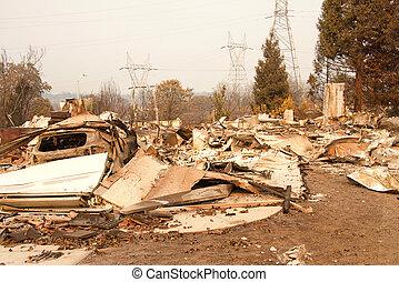 山火事, 傷つけられる, ca, redding, firestorm, 家