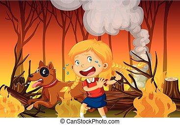 山火事, 女の子, 森林, 叫ぶこと