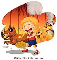 山火事, 女の子, 犬, 森林