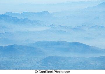 山脈, もや, 朝