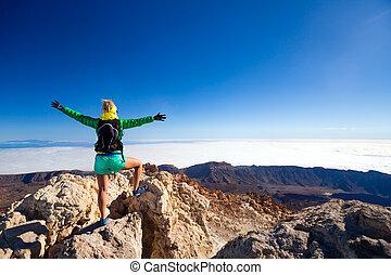 山頂部, 婦女, 成功, 攀登