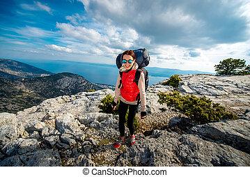 山頂部, 登山運動員, 年輕, 島