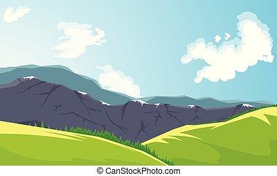 山高峰, 同时,, 绿色, 山谷