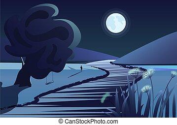 山, ∥あるいは∥, illustration., 自然, 湖, 海原, 月, ベクトル, night., 田園, 川, 漫画, 風景, 反射