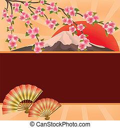 山, さくらんぼ, ファン, 木, 日本語, sakura, 背景