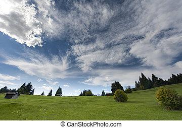山, のどかな, 雲, 牧草地, 木, 秋