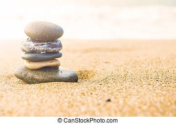 山, の, 浜, 石, 上に, sand., 海洋, 中に, ∥, 背景