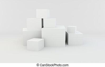 山, の, 白, 別, boxes., 3d, rendering.
