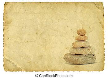 山, の, 石, 上に, 古い, ペーパー