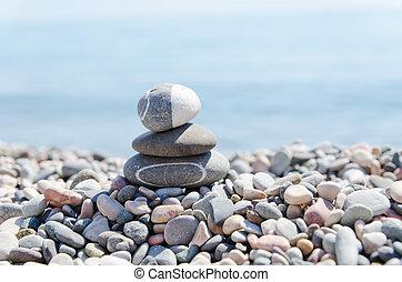 山, の, 禅, 石, 上に, 浜