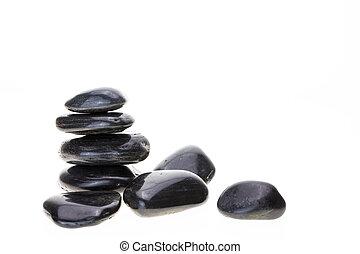 山, の, 黒, 玄武岩, バランスをとる, 石, 白, バックグラウンド。