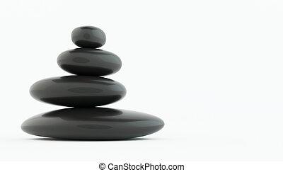 山, の, 黒, 禅, 石, 白, floor.