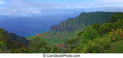 山, の, kauai, ハワイ