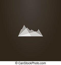 山, アウトライン, 半透明, ベクトル, シルエット, 単純である, 印, 岩が多い