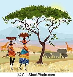 山, アフリカ, 風景, 女性