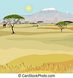 山, アフリカ, 風景, 理想主義的