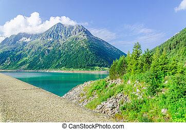 山, アルプス, ダム, 湖, オーストリア, 空色