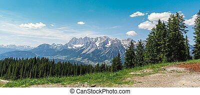 山, アルプス, 光景, planai, dachstein, ramsau, 岩