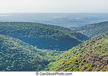 山, イスラエル, 航空写真, galilee, 光景