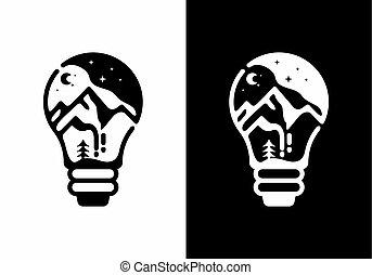 山, イラスト, ランプ