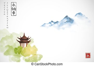 山, インク, 幸福, 青, ∥含んでいる∥, -, バックグラウンド。, 東洋人, 森林, sumi-e, 白, 寺院...