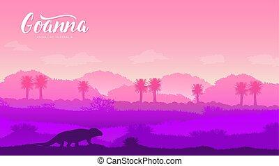 山, オーストラリア, シルエット, illustration., 捜索, バックグラウンド。, goanna, 概念,...