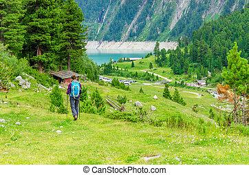 山, オーストリア, 女, 若い, 道